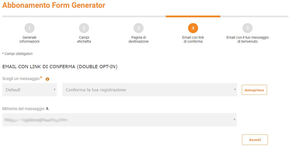 Configurare Doppio Opt-in di Mailpro